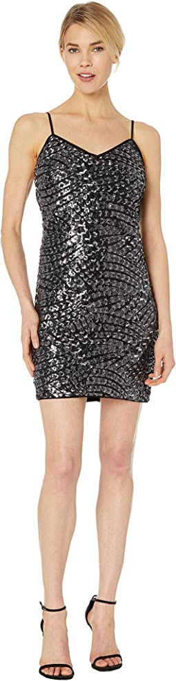 Silver Fan Sequin Cami Dress