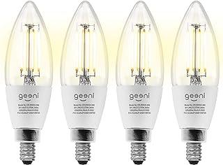 Geeni LUX Edison B11 Filament WiFi LED Bulb Smart، B11 Candelabra، 4W، E12 Base، Dimmable، Light White Tunable، سازگار با آمازون الکسا