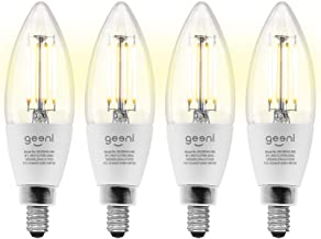 Geeni LUX Edison B11 Filament WiFi LED Smart Bulb, B11 Candelabra, 4W, E12 Base, Dimmable, White Light, Compatible with Am...