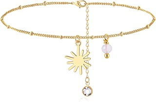 2 Length Adisaer Womens Gold Plated Pendant Necklaces Hollow Flower Pendant Tri-color Extender 18