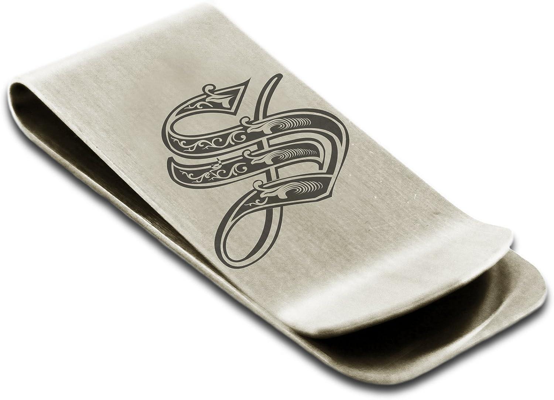 Stainless Steel Letter S Initial Royal Monogram Engraved Money Clip Credit Card Holder