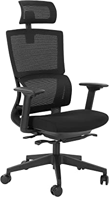 AuAg Ergonomic Office Chair, Computer Chair High Back Mesh Desk Chair for Home Office, with Lumbar Support 3D Armrest Sliding Seat Adjustable Headrest, Rolling Executive Swivel Chair Black