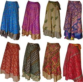 Pack of 10 Assorted Plus Size Women's Long Length Reversible Sari Art Silk Wrap Skirts L36inch