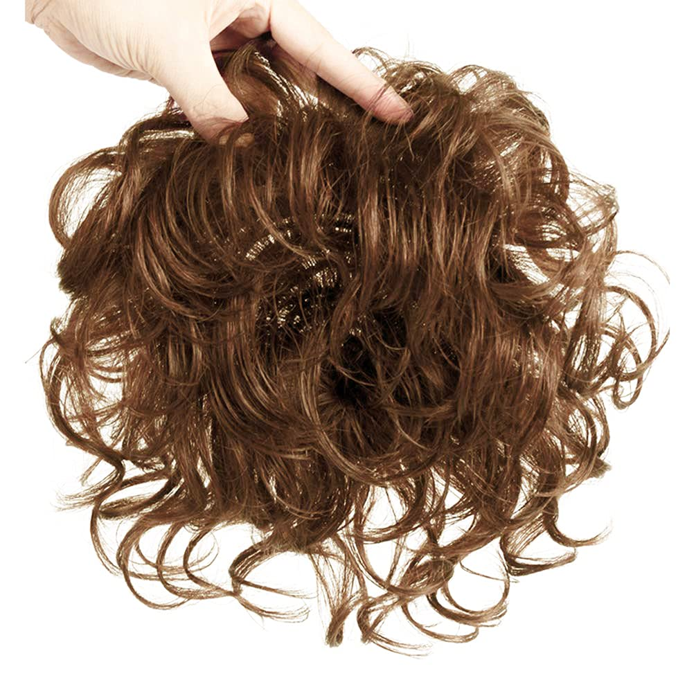 Maery Natural Human Hair Topper Closure Curly Hair Topper Clip in Hairpiece  Short Curly Hair Weaving Hair Replacement Top Crown Wiglet for Women with  ...
