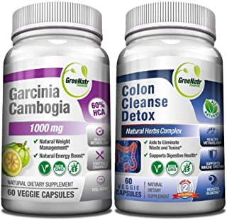 Sponsored Ad - 15 Day Colon Cleanser Detox + Garcinia Cambogia Weight Loss Bundle with Probiotic, Natural Laxatives for Co...