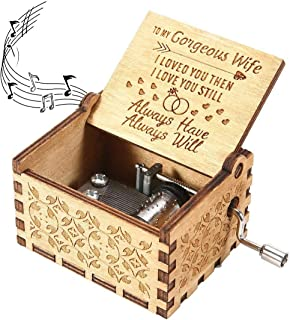 U R my sunshine Music Box memorable Gift to my gorgeous wife Vintage Wood Hand Crank musical box for Birthday Valentines Day thanksgiving days Christmas