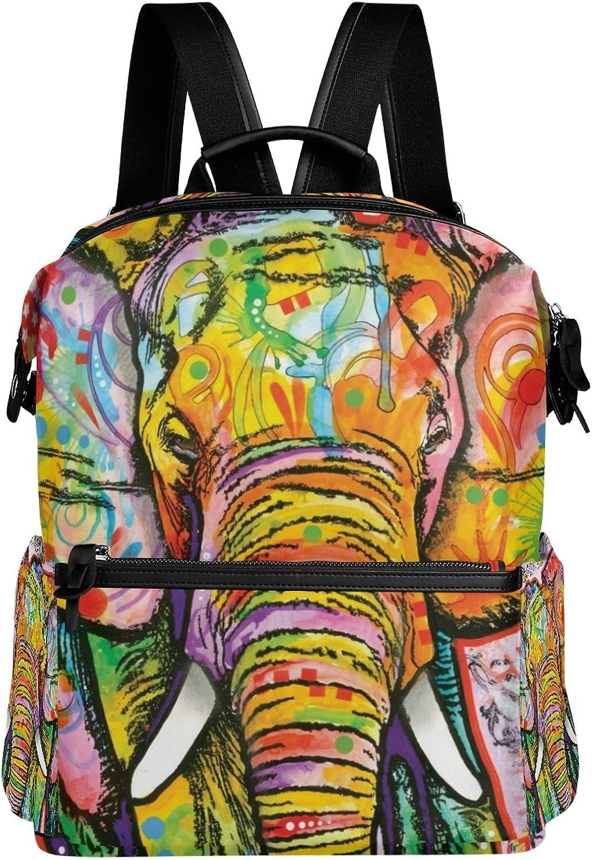 LORVIES colorful Elephant School Rucksack Travel Backpack