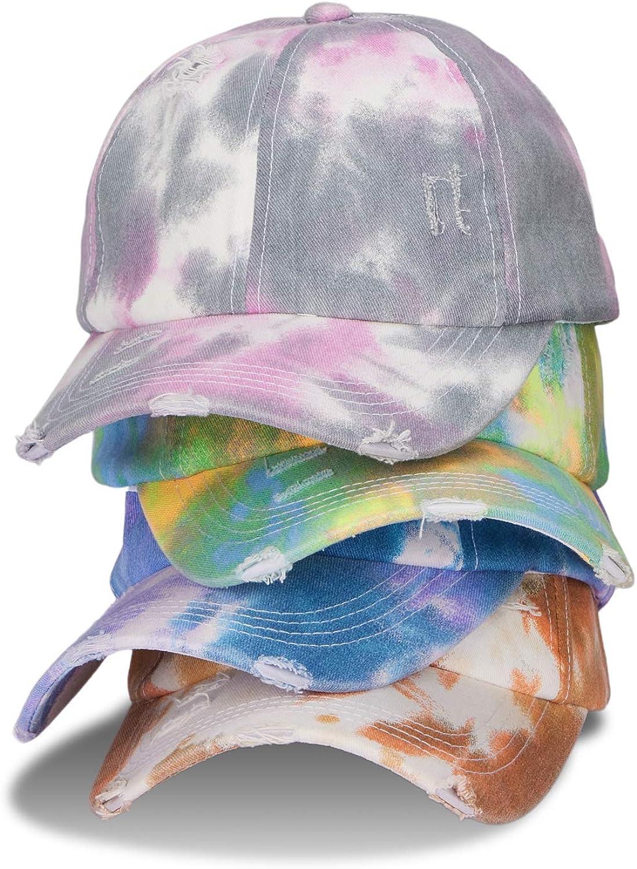 LIVACASA Baseball Cap Women Washed Vintage Distressed Criss Cross Baseball Hat Men High Ponytail Cotton Adjustable Dad Cap Tie Dye Blue Purple
