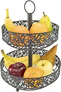 Southern Homewares SH-10245 Countertop Ornate Black Two Tiered Fruit Basket Decorative Shabby Chic Floral Metal Pattern w/Loop for Hanging, One Size,