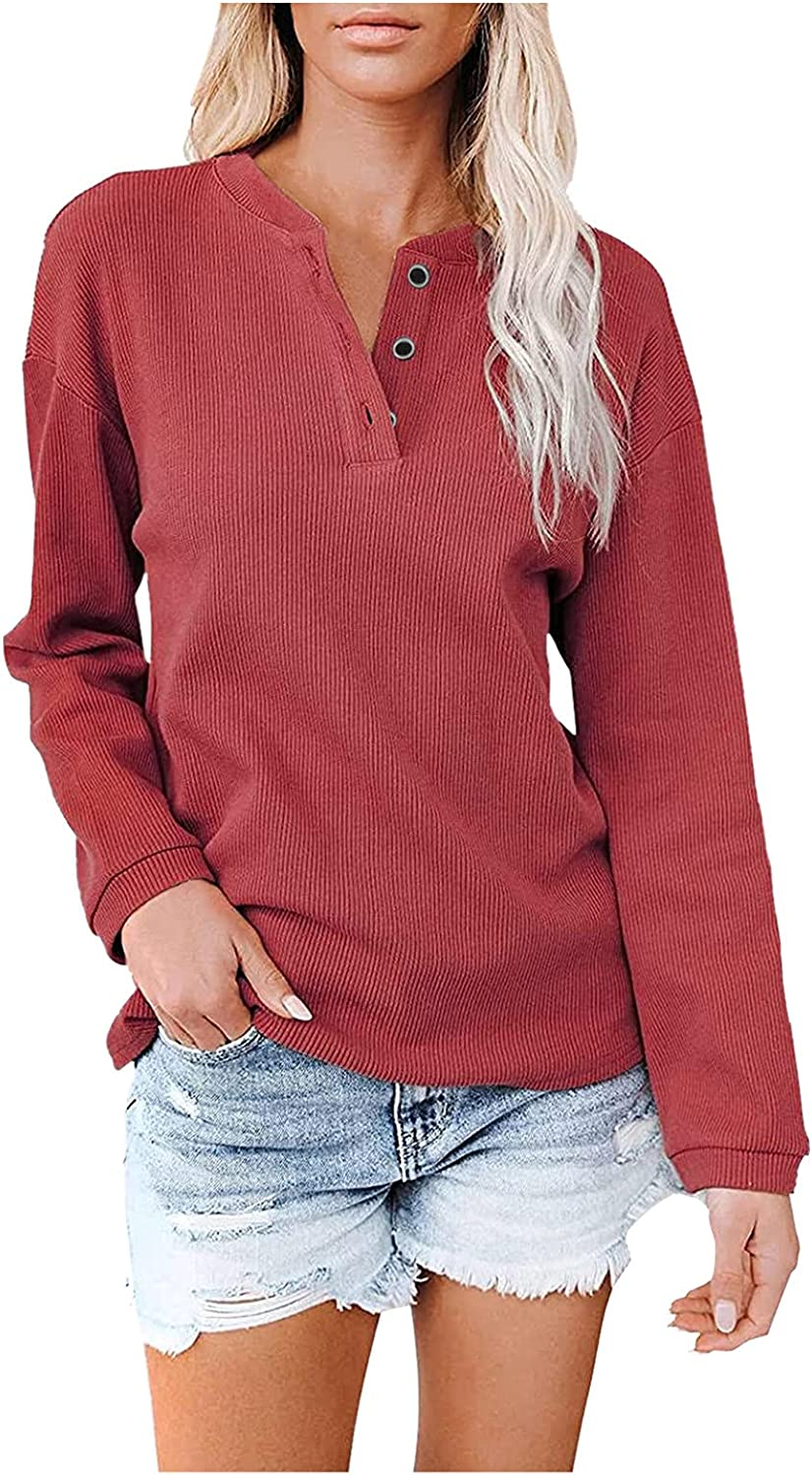 BHSJ Women's Fashion Soild Color Tops Square Collar Long Sleeve Casual Pullover Hoodie Sweater Loose V-Neck T-Shirt