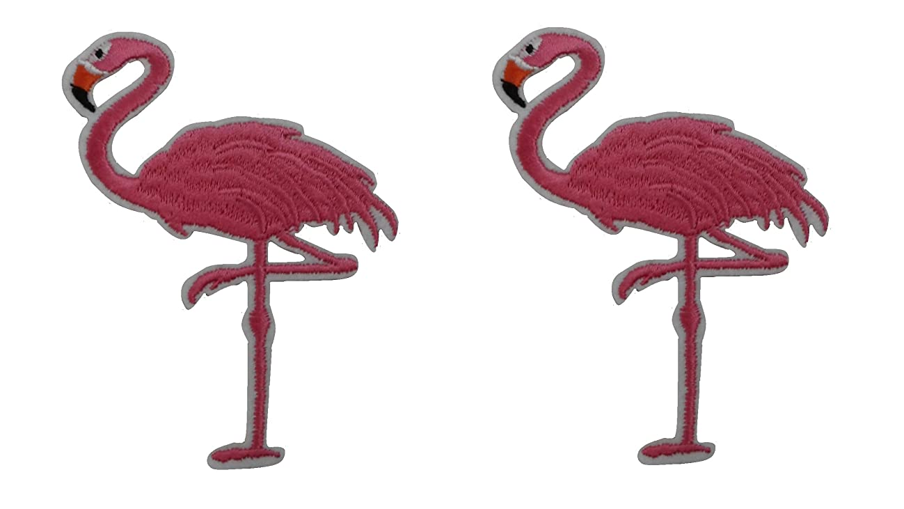 2 pieces FLAMINGO Iron On Patch Fabric Applique Animal Bird Motif Cartoon Decal 3.5 x 3.3 inches (8.8 x 8.3 cm)