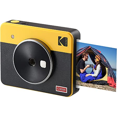 Kodak Mini Shot 3 Retro Fotocamera Istantanea e Stampante Fotografica Portatile, iOS e Android, Bluetooth, 76x76mm, Tecnologia 4Pass, 8 Fogli - Giallo