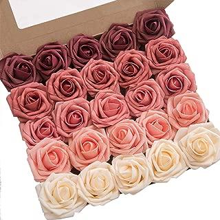 Ling's moment Artificial Flowers Fragrant Burgundy Ombre Colors Foam Rose 5 Tones for DIY Wedding Bouquets Centerpieces Arrangments Decorations