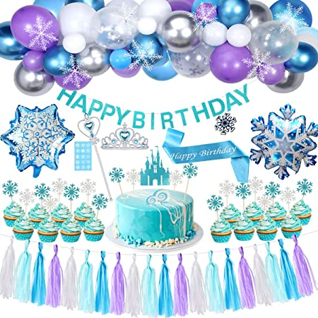 High chair tassels Frozen winter tassel garland Frozen first birthday Frozen Princess party tassels princess photo backdrop,