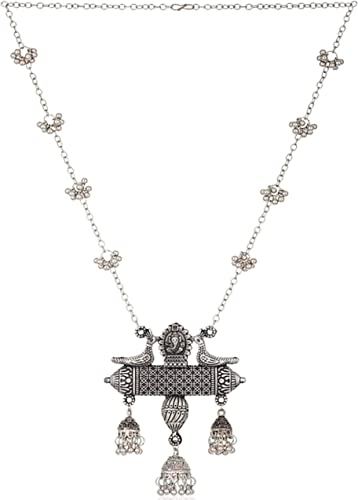Afghani Oxidised German Silver Jewellery Antique Designer Chain Pendant Necklace Set For Women Girls