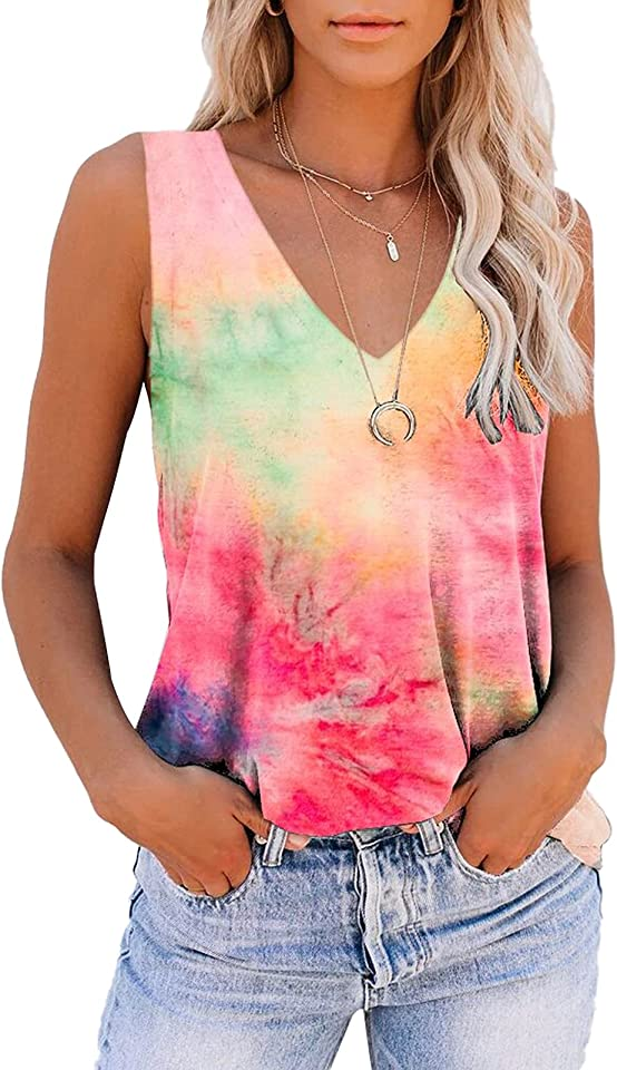 Tank Tops for Women, Cute Sleeveless V Neck Workout Tops Printed Running Casual Athletic T Shirts