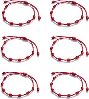 Huapan 6 uds Pulsera de Kabbalah Pulseras Rojas 7 Nudos, Pulseras para Protección, Suerte y el Mal de Ojo Ajustable Cordón...