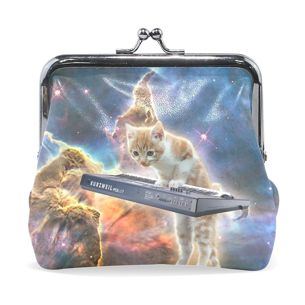 パークディスカウントトラックGORIRA(ゴリラ) かわいい 猫 ピアノ 弾く 星空 超繊レザー&木綿 財布 がま口式小銭入れ ミニがま口