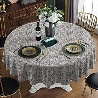 PINAFORE-HOME Round Polyester Tablecloth, Abstract Spotty Table Cloth Wrinkle Resistant Table Cloth for Bridal Shower Wedding Restaurant Diameter - 31 Inch