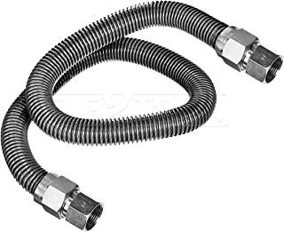 Flextron FTGC-SS12-60O Flexible Gas Line, Gas Pipe Connector With 5/8 in. Outer Diameter and 1/2 in. Inside Diameter; 3/4 in. FIP x 3/4 in. FIP Fittings; Uncoated Stainless Steel Gas Hose 60 in. Long