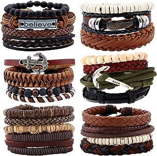 12-30PCS Braided Leather Bracelets for Men Women Wooden Beaded Bracelets Wrap Adjustable