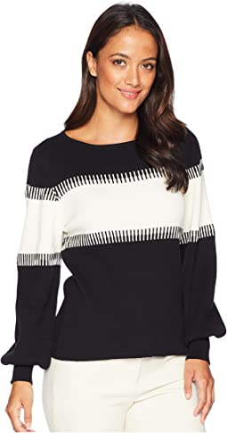 Petite Long Sleeve Color Blocked Intasia Sweater
