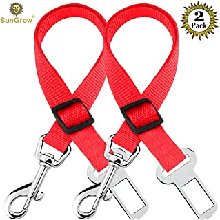 SunGrow Dog and Cat Car Seat Belts, Adjustable from 19-inches to 31-inches, Red, Prevent Stress from Travel, Supports All Cars, 2-Pieces
