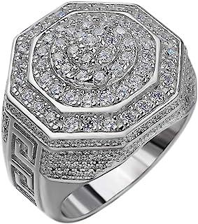خاتم من الفضة الاسترليني للرجال من هارلمبلينج بتصميم على شكل تاج ملكي، عيار 925 - مجموعة من مجوهرات هيب هوب من الحجر الثلج...