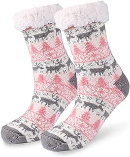 Calcetines Antideslizantes, Invierno Mujer Gruesos Lana Calcetines Térmicos de Piso, Tejer Doble Lana Calcetines de Casa para Mujeres Chicas Regalo de Navidad Interior, Talla Unica