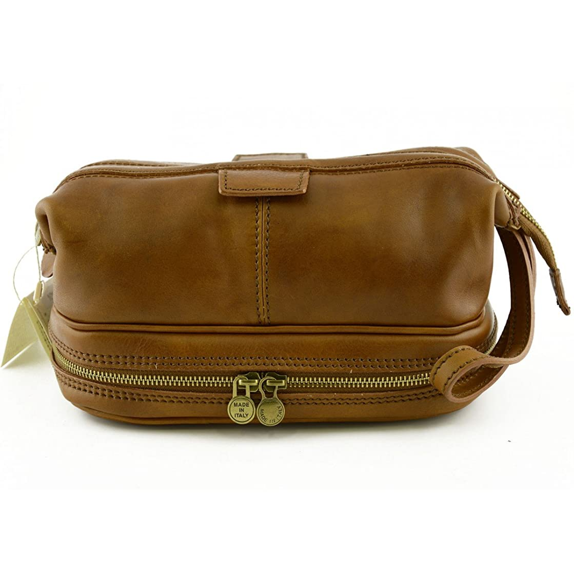 傾向がありますライブ評議会Made In Italy Vegetable Tanned Leather Wash Bag With Double Bottom Color Tan - Prestige Line