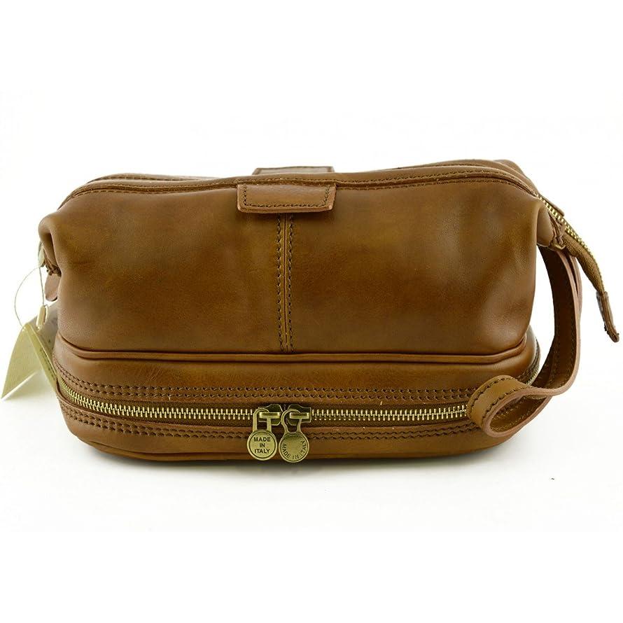 使役教え信号Made In Italy Vegetable Tanned Leather Wash Bag With Double Bottom Color Tan - Prestige Line