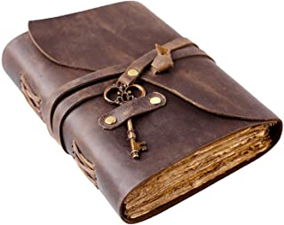 """$28 » Vintage Leather Journal - Antique Handmade Deckle Edge Vintage Paper Leather Bound Journal - Book of Shadows Journal - Leather Sketchbook - Drawing Journal - Great Gift - 240 Pages (7.5"""" x 5.5"""")"""