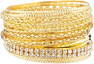 Lux Accessories Women's Pave Braided Mesh Wire Multi Bangle Set