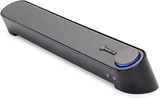 GOgroove Computer Speaker Mini Soundbar - USB Powered PC Sound Bar with Easy Setup Wired AUX, Stereo Audio, Microphone Port, Volume Control Knob, Under Monitor Design for Desktop (Black)