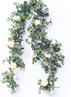 PARTY JOY Artificial Eucalyptus Garland with Champagne Roses Greenery Garland Eucalyptus Leaves Wedding Backdrop Wall Decor (Eucalyptus Garland with Roses)