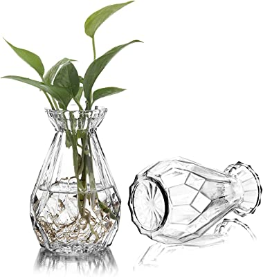 MyGift 5-inch Clear Glass Diamond-Faceted Flower Vases, Set of 4