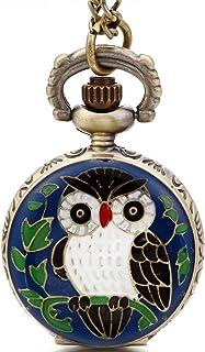Reloj de Bolsillo Pequeño Colgante de Buho Adorable, Reloj Cuarzo de Color Bronce, Niño Niña Retro Vintage Collar Largo con Colgante Azul Verde (con Bolsa de Regalo)
