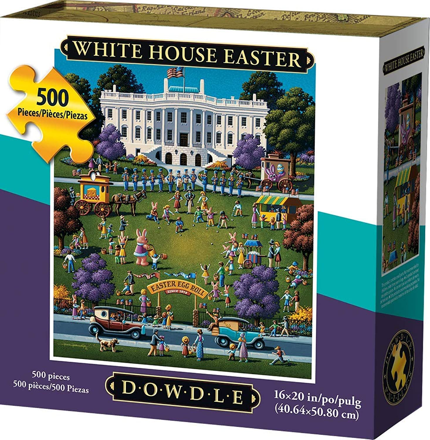 Jigsaw Puzzle - Weiß House Easter Egg Roll 500 Pc By Dowdle Folk Art