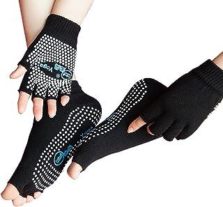 Juego de calcetines y guantes de yoga para mujer y niña, de algodón, antideslizantes, calcetines antideslizantes, guantes desechables