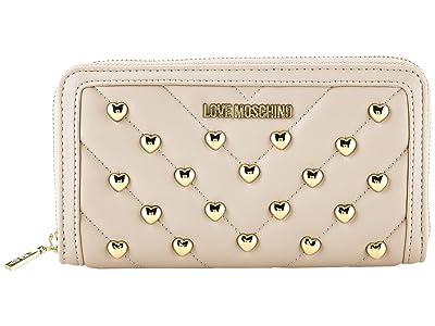 LOVE Moschino Studded Zip Around Wallet (Powder) Handbags