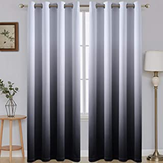 84 Inch Long Ombre Blackout Curtains Gradient White and Black Room Darkening Eyelet Top Panels Thermal Insulated Grommet W...