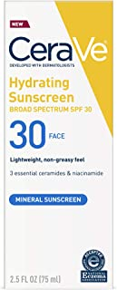 Cerave 100% Mineral Sunscreen SPF 30 | Face Sunscreen with Zinc Oxide & Titanium Dioxide for Sensitive Skin | 2.5 oz, 1 Pack