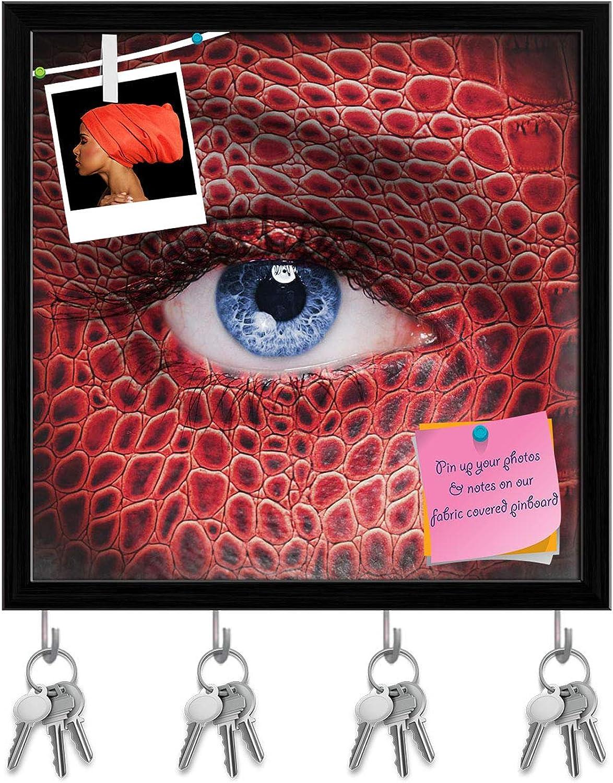Artzfolio Red Dragon Face Key Holder Hooks   Notice Pin Board   Black Frame 20 X 20Inch