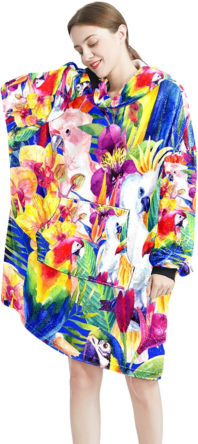 Max 84% OFF Cozy Oversized Maternity Hoodie Watercolor Blanket Same day shipping Parrots With