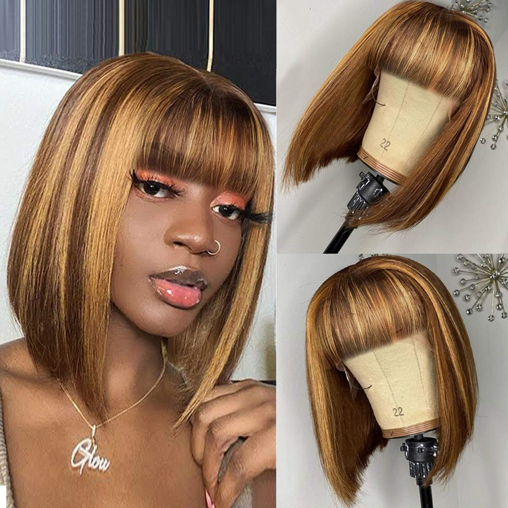 Highlight Straight Human Hair High quality new Wigs with Black Bangs Challenge the lowest price Women No for