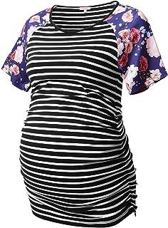 Bhome Maternity T Shirt Baseball Crew Neck Raglan Short Sleeve Shirts Pregnancy Top