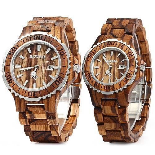 290f6d99bf2bb Bewell ZS-100B Couple Wooden Quartz Watch Men and Women Handmade  Lightweight Date Display Fashion