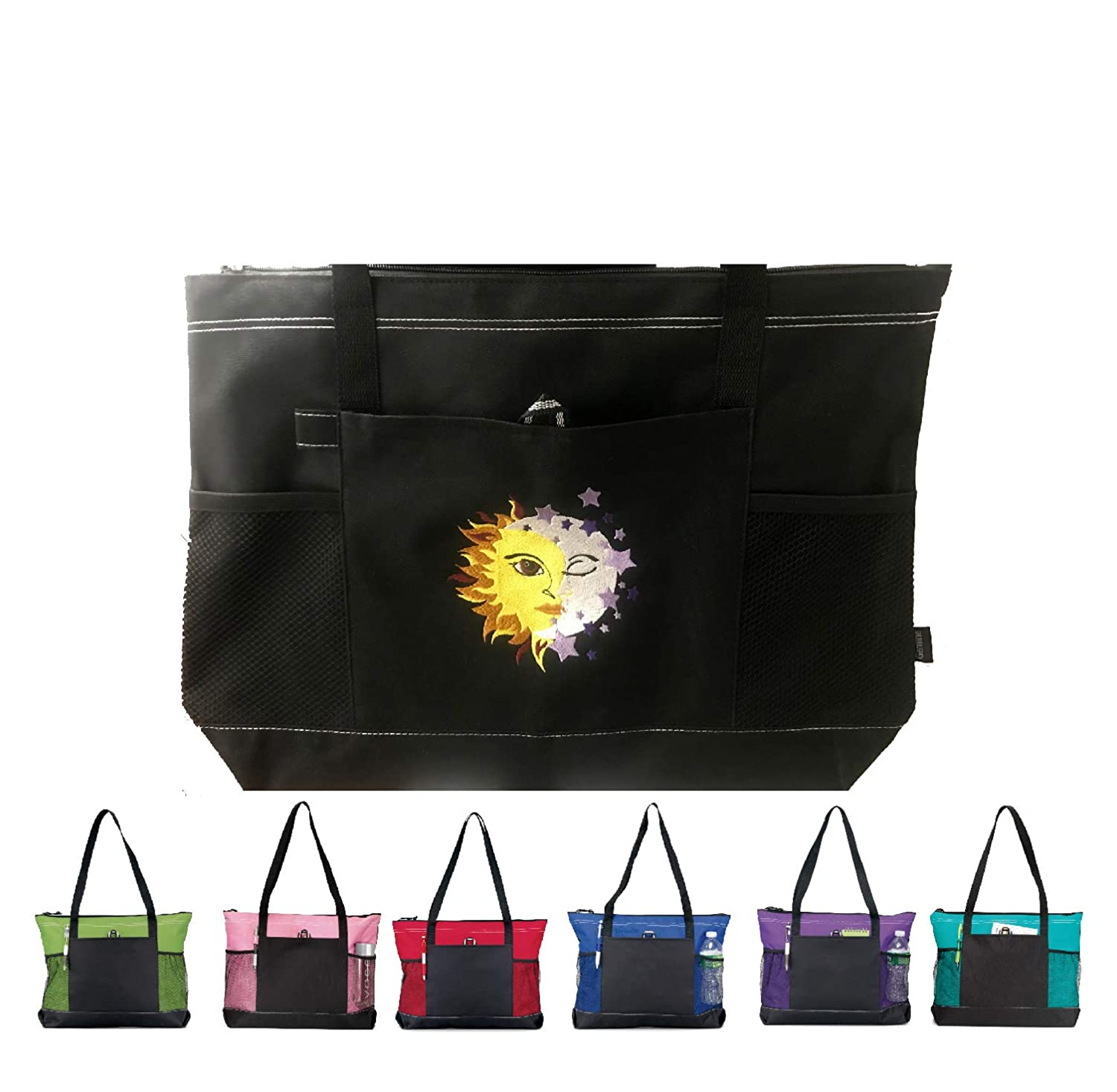 Embroidered New Orleans Mall SunMoon Zippered Bag Tote El Paso Mall