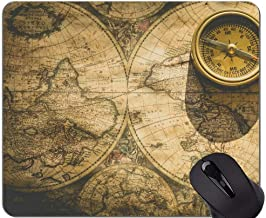 Map Custom Original Leopard Series Mouse Pad,Old Nautical Chart Map Historical Territories Compass Mouse Pad with Stitched Edge