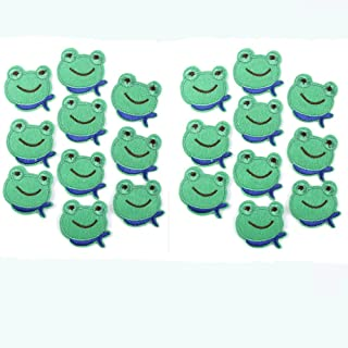 EORTA 20 Pcs Small Cloth Sticker Applique Embroidery Patches DIY Clothing Decorated Sewing for Craft Repair Patch for Kids Cute Frog Pattern Decor